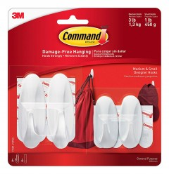 Command Designer Plastic Hooks, 2-Small, 2-Medium