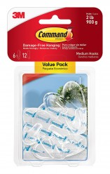 Command Medium Hooks, Clear, 6-Hook
