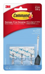 Command Small Plastic Wire Hook(Clear,3 hooks and 4 strips)