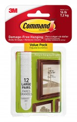 Command Picture Hanging Strips Value Pack, Large, White, 12-Strips (17206-12ES)
