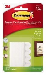 Command Small Picture Hanging Strip(White, Pack of 4)